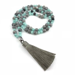 108 Mala Prayer Beads, Aquamarine Tassel Necklace